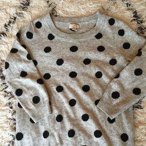 Gray J Crew polka dot sweater, size XS
